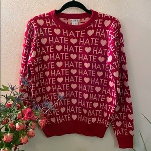 KLING Love/Hate Matching Top/Skirt Set in Red/Pink